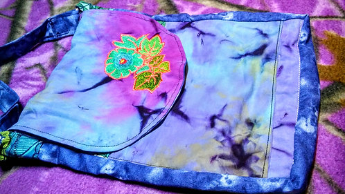 Purple tye dye flower bag