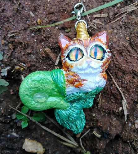 Green kitty mermacorn pendant