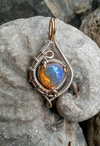 Ethiopian opal in 14k gold and silver