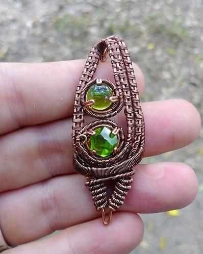 Copper peridot wire wrapped pendant