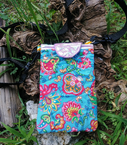 Sky blue paisley rainbow side bag