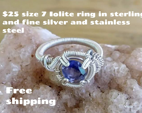 Size 7 Iolite sterling silver ring