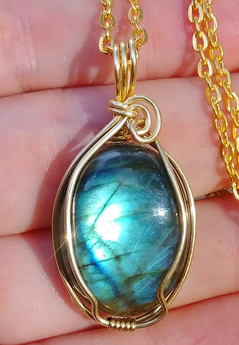 Brass labradorite wire wrapped pendant