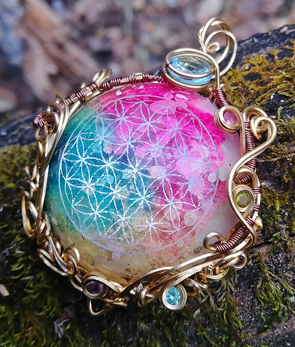 Rainbow flower of life wire wrapped pendant