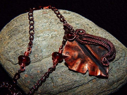 Hand forced leaf necklace