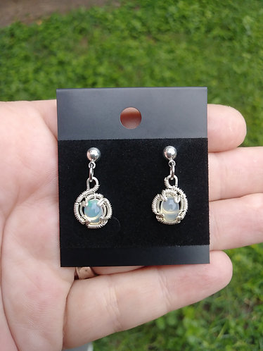 Wire wrapped ethiopian opal stud earrings