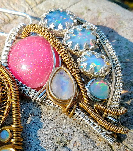 Color changey opal and moonstone wire wrapped pendant