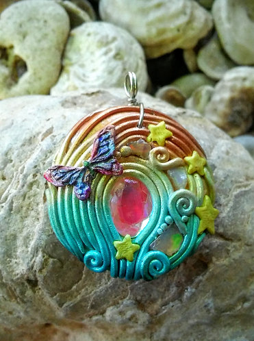 opal and mystic topaz pendant