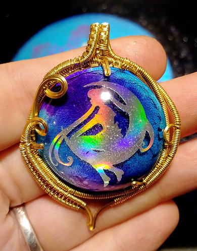Holographic rose brass sailor moon pendant