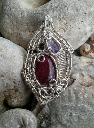sterling silver wrap with Ruby, amethyst, garnet