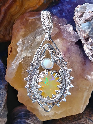 Sunfire opal wire wrapped pendant