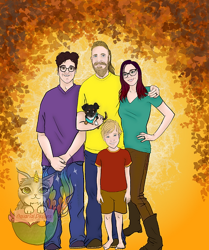 Custom family portrait digital drawing