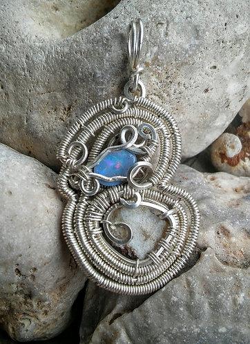 Australian opal sterling silver wrapped pendant