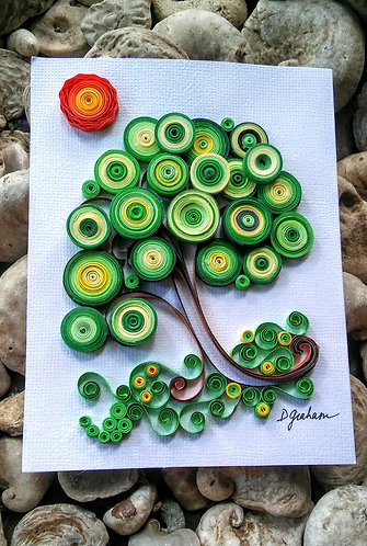 Paper quilled tree postcard