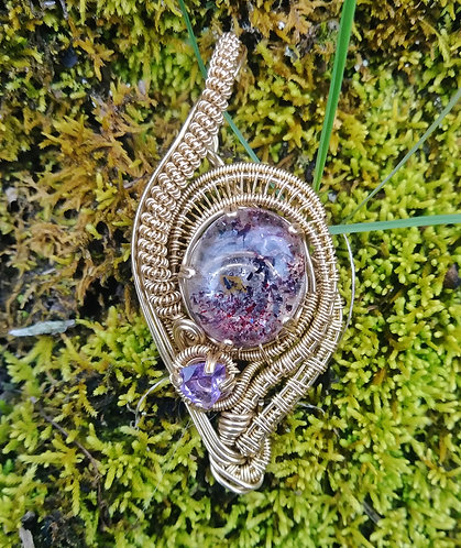 Hematite included quartz and amethyst wire wrapped pendant