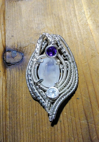 Moonstone and amethyst wire wrapped pendant