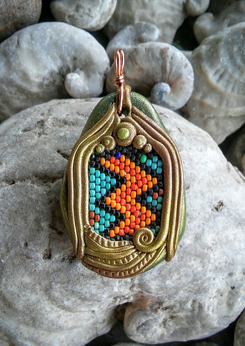 Gold peyote stitch polymer clay pendant