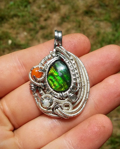 Ammolite, opal, and moonstone wire wrap