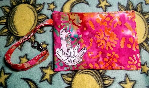 Red batik crystal clutch bag