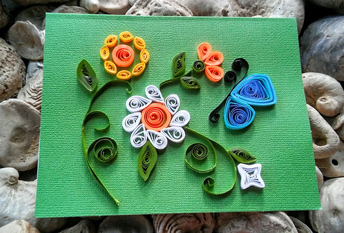 Spring flowers paper quilled card