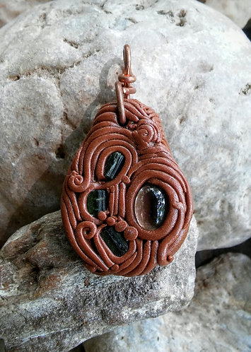 Smokey quartz and green tourmaline pendant
