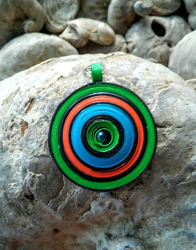 Iguana eye paper disc pendant