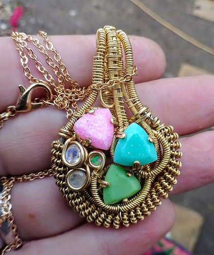 Pastel glow in the dark moonstone and opal pendant