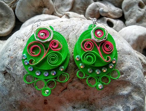 Green sparkly paper earrings