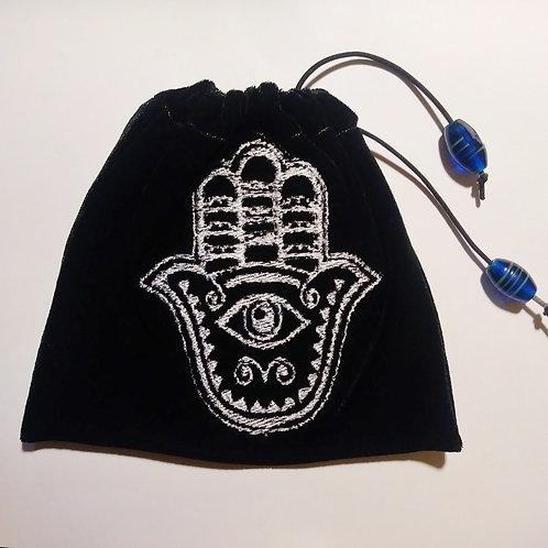 Black and white Hamsa velvet drawstring bag