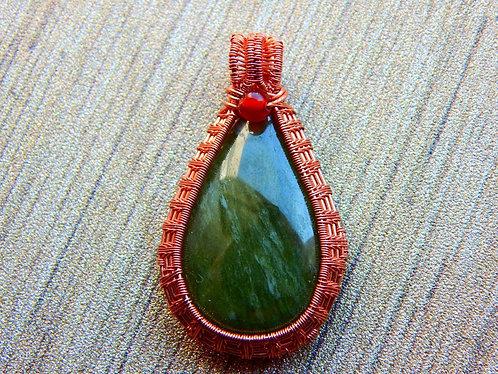 Vessuvianite wrapped pendant