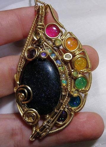 Rainbow blast opal pendant