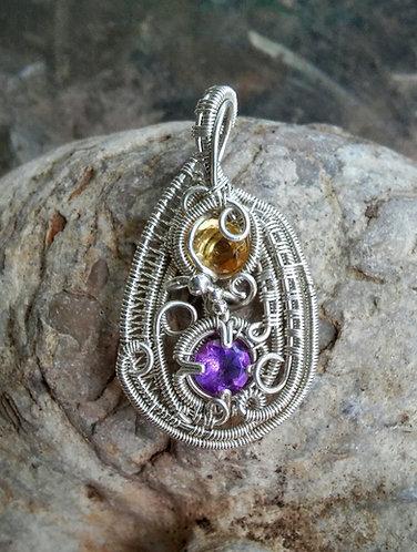 Amethyst and Citrine pendant