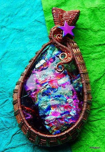 Wire wrapped dichro pendant