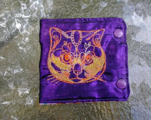 Metallic kitty wallet