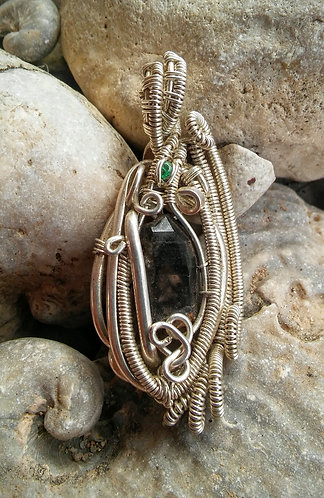 Sterling pendant with Morion quartz and emerald