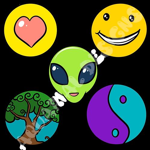 90's theme hippie digital sticker pack