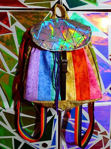 Rainbow holographic mini backpack