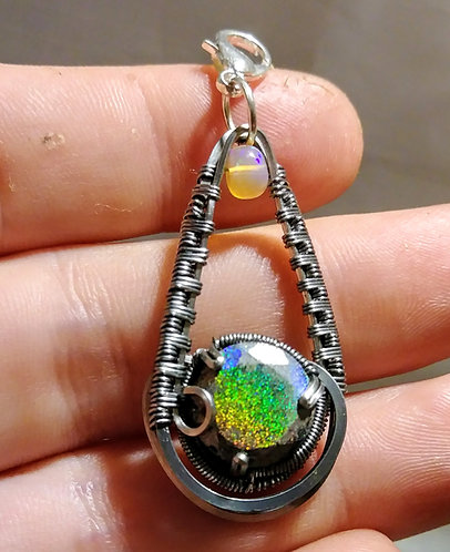 Little super holographic wire wrap with ethiopian opal