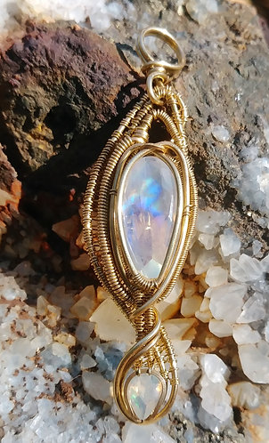 Moonstone and opal wire wrapped pendant