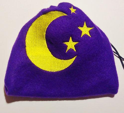 Starry moon fleece drawstring bag