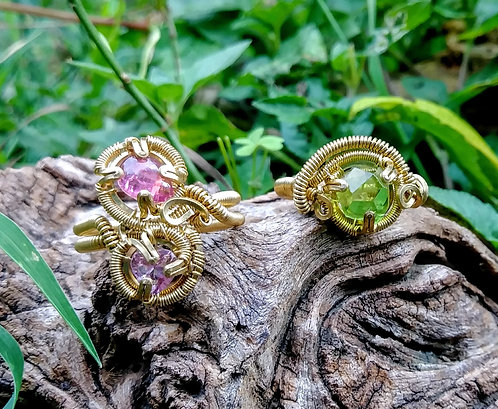 Peridot, pink tourmaline, and amethyst rings size 4 and 6