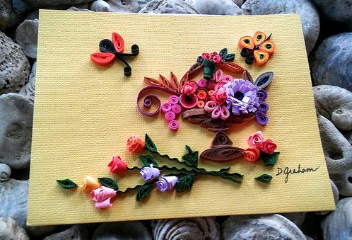 Rose manor paper quilled card
