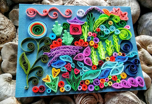 Candy garden walk paper quilled card