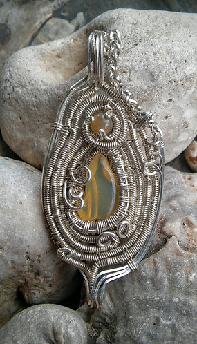 Ethiopian opal in sterling wire wrap