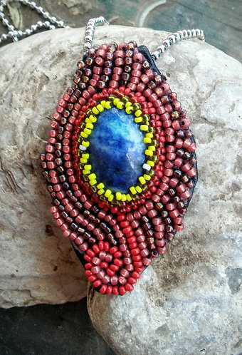 Sodalite bead embroidered pendant
