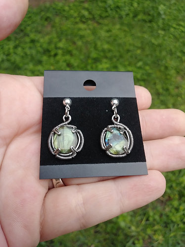 Wire wrapped Labradorite stud earrings