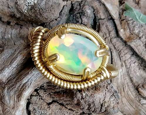Size 8 ethiopian opal wire wrapped ring
