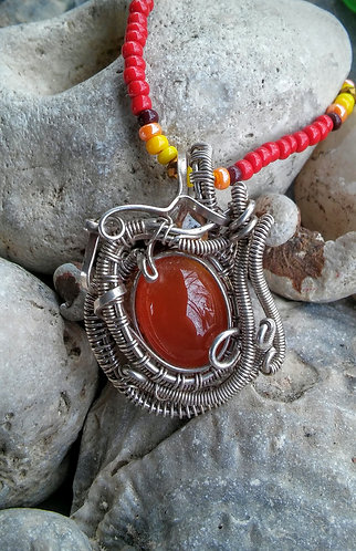 sterling carnelion, citrine, and garnet pendant