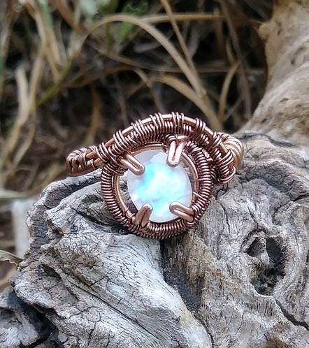 Moonstone ring in copper size 8