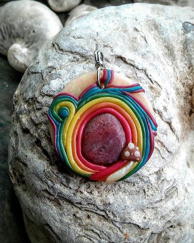 Rainbow mushroom ruby pendant